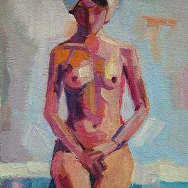 Maja Djokic Mihajlovic: 'nude1', 2018 Oil Painting, Nudes. Artist Description: Oil painting on CanvasOne of a kind artworkSize: 11. 4 x 16. 3 x 0. 2 cm  unframed    11. 4 x 16. 4 cm  actual image size Signed on the frontStyle: Expressive and gesturalSubject: Nudes and erotic...