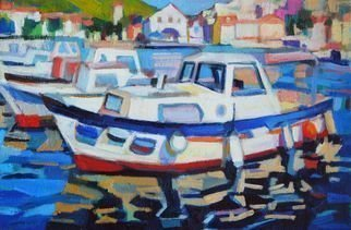 Maja Djokic Mihajlovic: 'old boat', 2018 Oil Painting, Boating. Artist Description: Oil painting on CanvasOne of a kind artworkSize: 30 x 20 x 2 cm  unframed    30 x 20 cm  actual image size Signed on the frontStyle: Expressive and gesturalSubject: Transportation and maps...