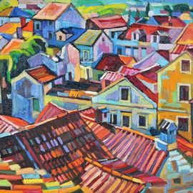 Maja Djokic Mihajlovic: 'old city roofs', 2018 Oil Painting, Cityscape. Artist Description: Original oil on stretched canvas. Dimensio is 50 x 40 x 0. 3 cmThis is a unique, one of a kind original oil painting. The painting is sold unframed. It is signed on the back and comes with a Certificate of Authenticity.The painting will be carefully packed ...