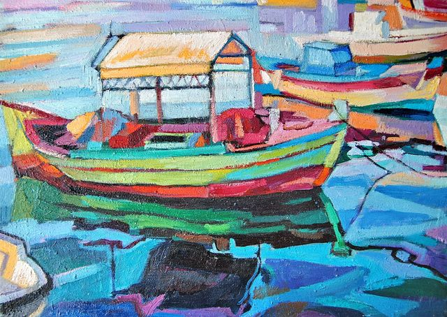 Maja Djokic Mihajlovic  'Old Fishing Boat', created in 2016, Original Pastel.