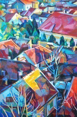 Maja Djokic Mihajlovic: 'old red city roofs', 2012 Oil Painting, Cityscape. city- cityscape- roofs- houses- home- buildings- town...
