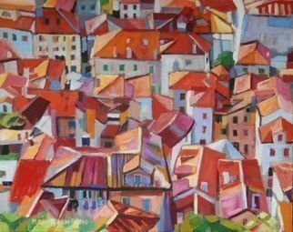 Maja Djokic Mihajlovic: 'roofs', 2018 Oil Painting, Architecture. architecture, city, town , figurative , oil, roofs , red , ...