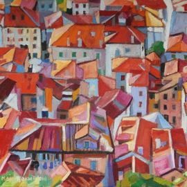 Maja Djokic Mihajlovic: 'roofs', 2018 Oil Painting, Architecture. Artist Description: architecture, city, town , figurative , oil, roofs , red , ...