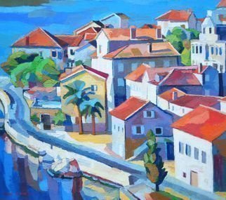 Maja Djokic Mihajlovic: 'seascape', 2010 Oil Painting, Architecture. Artist Description: Sea, seascape, town, mediterranean area, promenade, road, marina, houses, buildings, ...