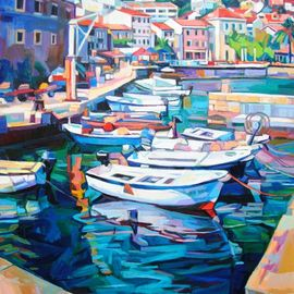 Maja Djokic Mihajlovic: 'seascape', 2018 Oil Painting, Boating. Artist Description: sea, marina, water, reflection, light, seascape, architecture, harbour, mediterranean...