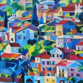 Maja Djokic Mihajlovic: 'seascape', 2018 Oil Painting, Architecture. Artist Description: seascape, cityscape, houses, street, roofs, town...