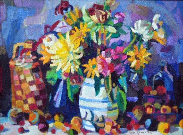 Maja Djokic Mihajlovic  'Still Life With Yellow Flowers', created in 2012, Original Pastel.