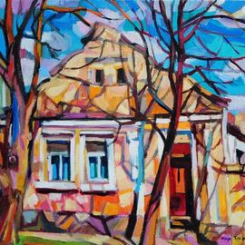 Maja Djokic Mihajlovic: 'suburbia', 2018 Oil Painting, Architecture. Artist Description: suburbia, rural, yellow, house, home, town, street, summer, lighr, cityscape, trees, spring, light, ...