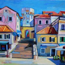 Maja Djokic Mihajlovic: 'sunny square', 2018 Oil Painting, Architecture. Artist Description: DIMENSION IS 30 X 20 X 0,3 CM SEASCAPE, ARCHITECTURE, TOWN, STREET, SUMMER, LIGHT, SUN, ...