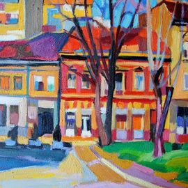 Maja Djokic Mihajlovic: 'urban landscape', 2016 Oil Painting, Architecture. Artist Description: View towards the the sunny street in early morning. Colorful buildings in sequence shining on the sun. Original oil on canvas .This is a unique, one of a kind original oil painting. The painting is sold unframed. It is signed on the back and comes with a Certificate ...