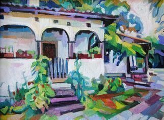 Maja Djokic Mihajlovic: 'village house', 2018 Oil Painting, Rural. village, house, white, building, garden, yard, summer, nature, rural, ...
