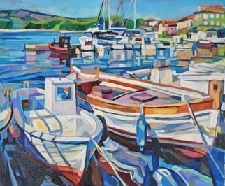 Maja Djokic Mihajlovic: 'white fishing boats', 2016 Oil Painting, Boating. The painting was created in Jelsa, a small coastal town on the island Hvar.  Croatia, Europe View on a coastal city and small stone port with old fishing boats .This is a unique, one of a kind original oil painting. The painting is sold unframed. It is signed on the ...