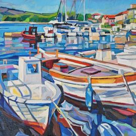 white fishing boats