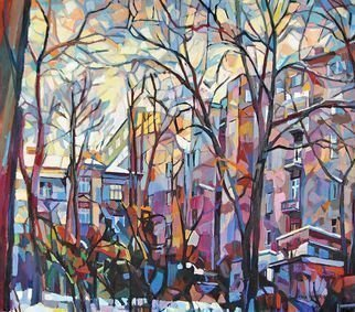 Maja Djokic Mihajlovic: 'winter yard', 2011 Oil Painting, Cityscape. Artist Description: winter, cityscape, city, town, yard, oil, painting, canvas, modern...