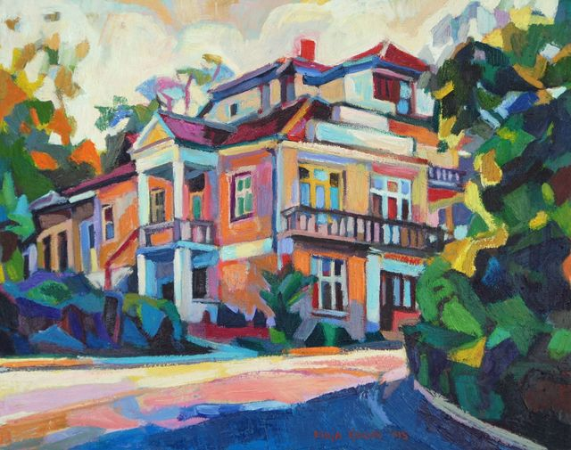 Maja Djokic Mihajlovic  'Yellow House', created in 2013, Original Pastel.