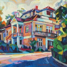 Maja Djokic Mihajlovic: 'yellow house', 2013 Oil Painting, Home. Artist Description: This is a unique, one of a kind original oil painting. The painting is sold unframed. It is signed on the front and comes with a Certificate of Authenticity.The painting will be carefully packed in cardboard box with layers of bubble wrap and sent out to you ...