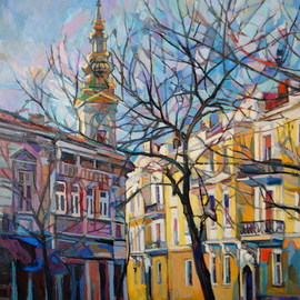 Maja Djokic Mihajlovic: 'yellow street 2', 2012 Oil Painting, Architecture. Artist Description: Urban landscape.Original oil on canvas .This is a unique, one of a kind original oil painting. The painting is sold unframed. It is signed on the front and comes with a Certificate of Authenticity. The painting will be carefully packed in cardboard box with layers of bubble ...