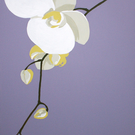 Maja Vidovic: 'orchid', 2008 Acrylic Painting, Floral. Artist Description:  Orchid painting from Energy twirll series representing crown chakra. ...