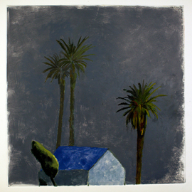 Malcolm Moran: 'house with a blue roof', 2006 Other Painting, Archetypal. Artist Description: dreams, house, palm- tree, ...