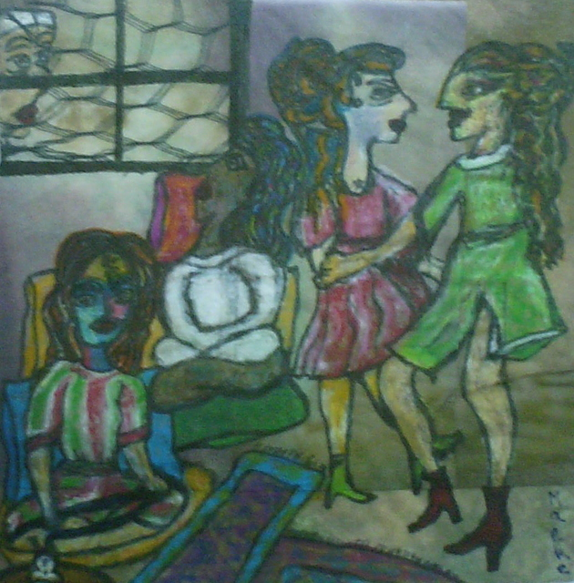 B Malke  'Algerian Women In Their Appartment 2', created in 2009, Original Painting Ink.