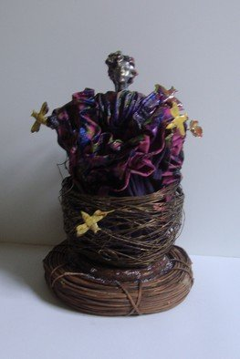 B Malke: 'Bird Woman', 2014 Mixed Media Sculpture, Life.               celebration of the woman, Clay/ metal / wood / ribbon              ...