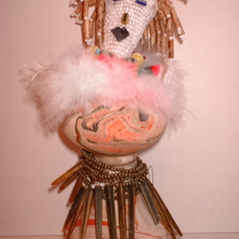 Malke: 'Ma Kachina', 2008 Mixed Media Sculpture, Abstract Figurative. Artist Description:  My own spirit Kachina, made of clay. beads, feathers, wood, fabric.  She has a carved little bird on top of her head ...