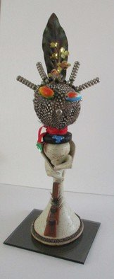 B Malke: 'Plant Woman', 2014 Mixed Media Sculpture, Figurative.     Glass Wood, ceramic composition, clay, feathers               ...