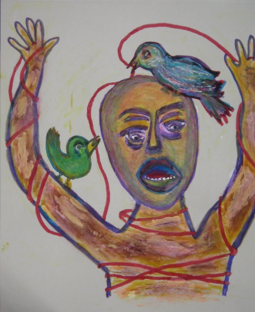 B Malke  'The Birds Man', created in 2011, Original Painting Ink.