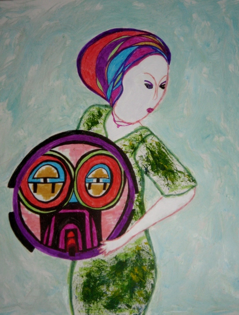 B Malke  'Woman With A Shield', created in 2011, Original Painting Ink.