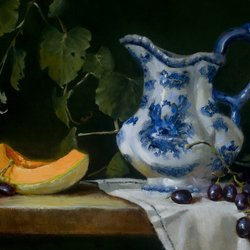 , Blue Pitcher With Cantelo, undecided, $158