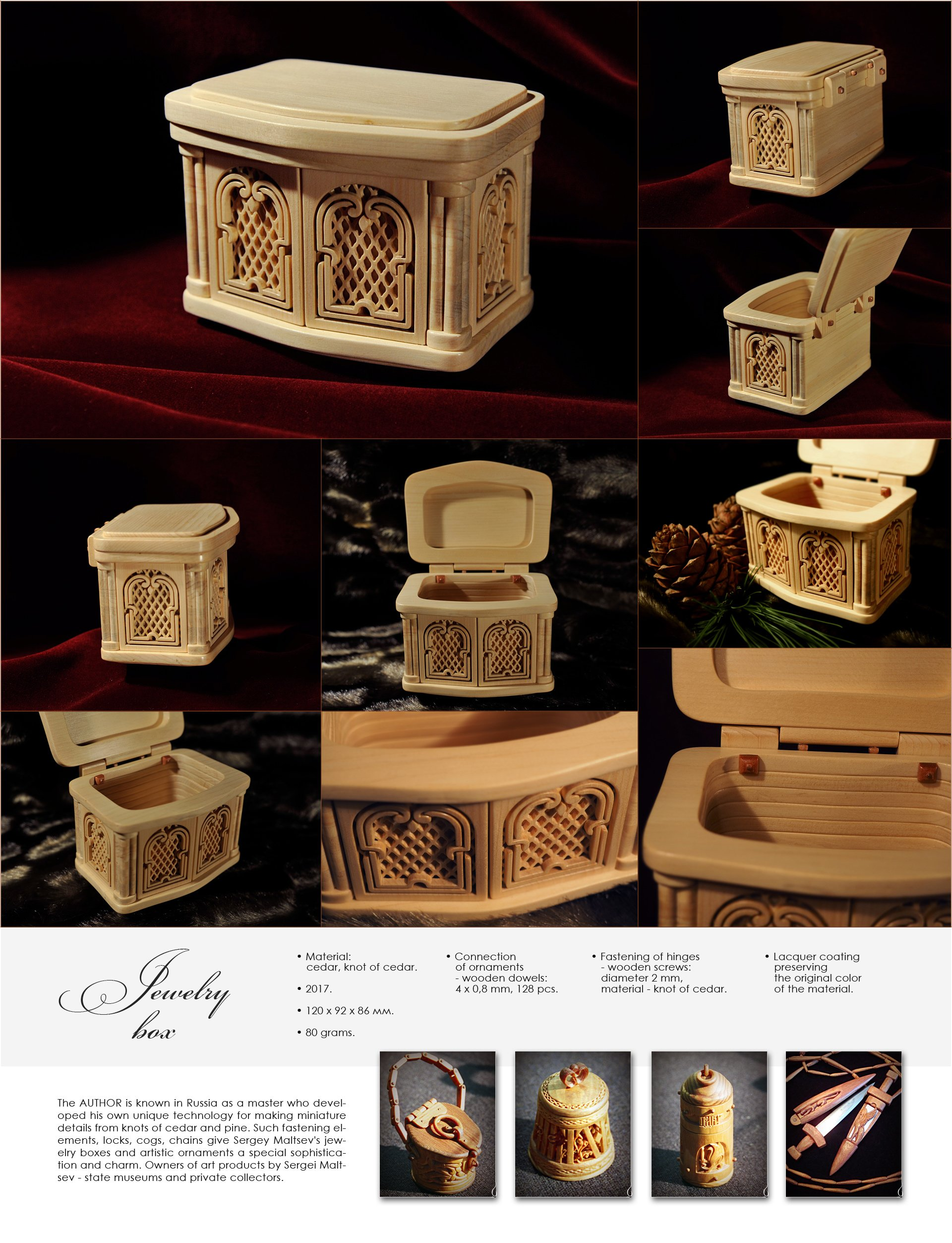 Sergey Maltsev Artwork cedar jewelry box, 2017 Woodworking Art, Beauty