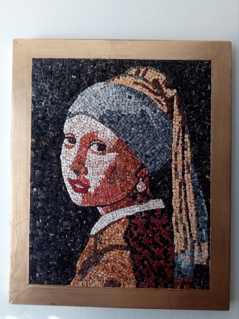 Kristijan Mancovski  'Girl With A Pearl Earing', created in 2017, Original Mosaic.