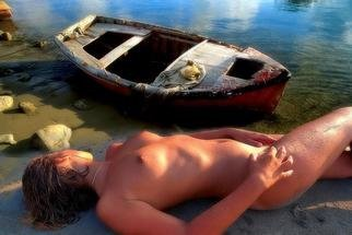 Artist: Manolis Tsantakis - Title: Girl with a fishing boat - Medium: Color Photograph - Year: 2006