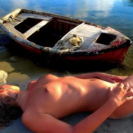 Manolis Tsantakis: 'Girl with a fishing boat', 2006 Color Photograph, nudes.