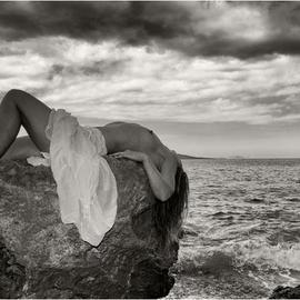 Manolis Tsantakis: 'On the rocks', 2010 Black and White Photograph, nudes.
