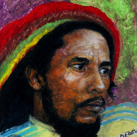 Edward Ofosu Artwork Bob Marley, 2010 Oil Pastel, Portrait
