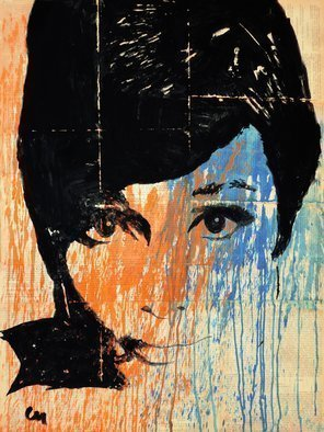 Marat Cherny: 'audrey colour', 2015 Other Painting, Portrait. Artist Description: Painting Gouache on Paper and Other. The picture is painted with gouache on glued together vintage book pages ...