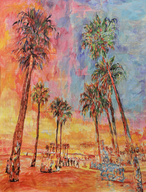 Marat Cherny  'Beach Palm Trees The Sunset', created in 2018, Original Collage.