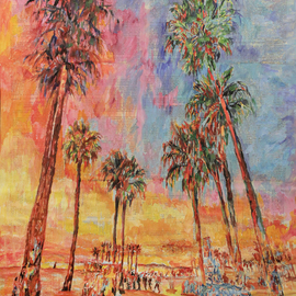beach palm trees the sunset By Marat Cherny