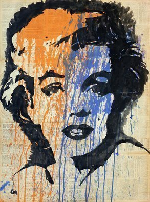 Marat Cherny: 'marilyn colour', 2015 Ink Painting, Portrait. Artist Description: Painting Gouache on Paper and Other. The picture is painted with gouache on glued together vintage book pages ...