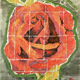 Marat Cherny: 'red rose', 2018 Other Painting, Still Life. Artist Description: The painting is painted in gouache and watercolor on glued book pages. ...