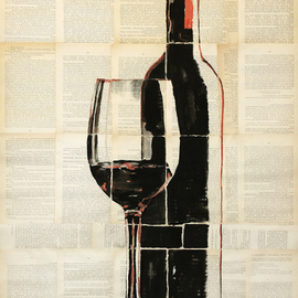 Marat Cherny: 'red wine', 2018 Other Painting, Still Life. Artist Description:  The painting is painted in gouache and watercolor on glued pages of the book. ...