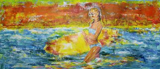 Marat Cherny: 'sunset and surfing', 2018 Acrylic Painting, Sea Life. Artist Description:  The painting is painted with acrylic and tinting paste. ...