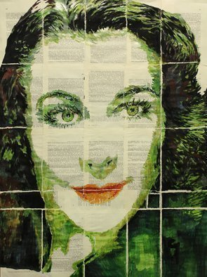 Marat Cherny: 'vivien', 2018 Other Painting, Portrait. Artist Description: Painting gouache and watercolour on glued together book pages. ...