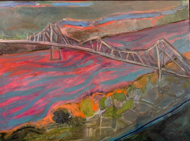 Marc Awodey  'Bridge In Iowa', created in 2005, Original Painting Oil.