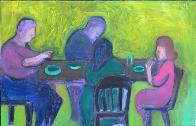 Marc Awodey  'Burger Eaters', created in 2003, Original Painting Oil.