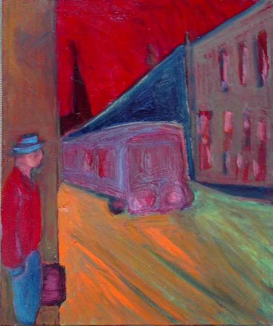 Marc Awodey  'College St  Bus', created in 2006, Original Painting Oil.