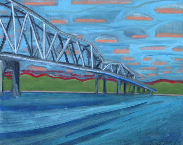 Marc Awodey  'Missouri Bridge', created in 2005, Original Painting Oil.