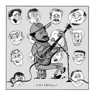 Marc Crisafulli: '2002 Blues Fest', 2002 Illustration, Music. In Birmingham,  a great many legendary blues artists appear and play for an overwhelmingly white crowd. From The New York Press. ...