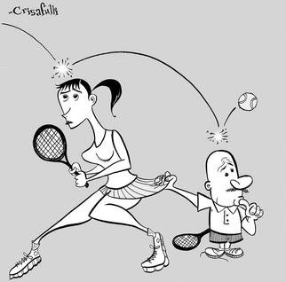 Marc Crisafulli: 'Tennis Whore', 2002 Illustration, Sports. For a New York Press article about the trials and tribulations of giving tennis lessons to various oddballs on the Upper East Side....